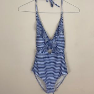Aerie blue/white striped swimsuit Size XXS